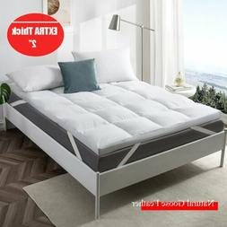"""2"""" Natural White Goose Feather Bed Mattress Topper Pillow To"""