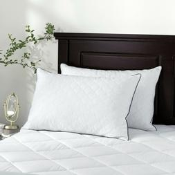 2 Pack Diamonds Quilted Goose Feather Bed Pillows White Poin