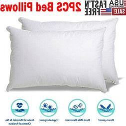 2PCS Goose Down Feather Bed Pillow Comfortable Soft Deep Sle