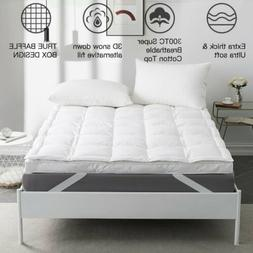 """3"""" Mattress Topper Pad Feather Bed Protector Pillow Top Cool"""