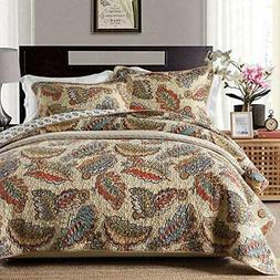 3 PCS Colorful Feather Bedspread Quilt Coverlet Patchwork Co
