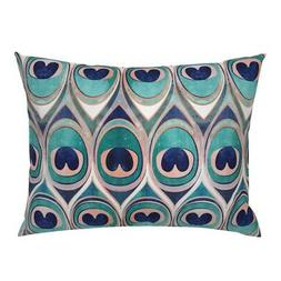 Animal Feathers Peacock Eye Rose Coral Blue Pillow Sham by R