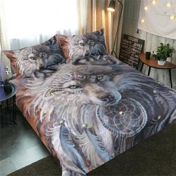 Bedding Set Indian Wolf Warrior With Feather Dreamcatcher Be