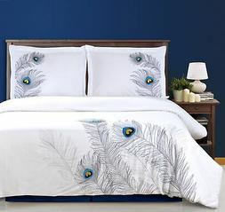 Burnet 100% Cotton Peacock Feather Embroidered Duvet Cover S
