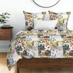 Cheater Feathers Floral Boho Baby Roses Flowers Sateen Duvet