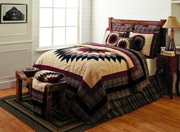 CHELSEA Queen Quilt Feathered Star Red/Tan Primitive Plaid S