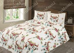 Cow Skull Flower & Feather Quilt Rustic SouthWest Bedspread