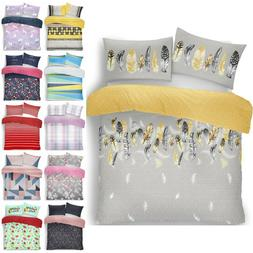 FEATHER QUILT DUVET COVER EASY CARE Pink/Grey Luxury Bedding