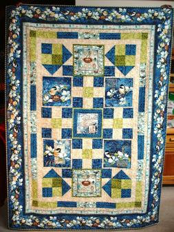 Feather Your Nest Twin Size Handmade Blue Floral Bird Quilt