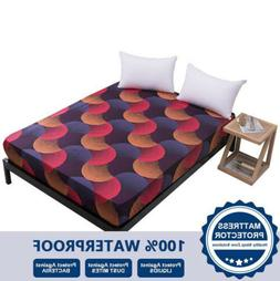 floral printed waterproof mattress cover fitted sheet