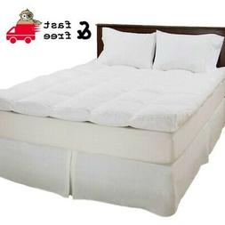 """Full 4"""" Mattress Topper Down and Duck Feather Bed Protector"""