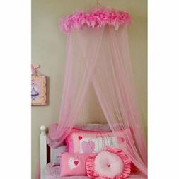 Girls Pink Feather Boa Hoop Canopy Netting Sheer Mosquito Tw