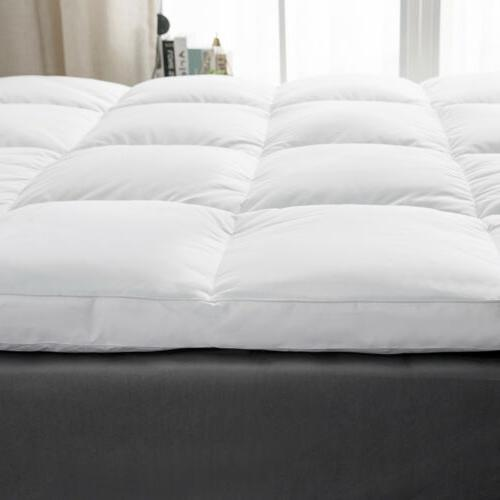 """2"""" Natural Goose Feather Pillow Top 100% Cover"""