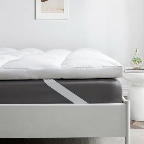 """2"""" Natural White Feather Bed Mattress Pillow Top 100% Cotton Cover"""