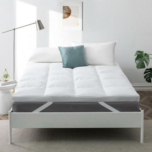 """2"""" Natural White Goose Feather Bed Mattress Pillow Top 100%"""