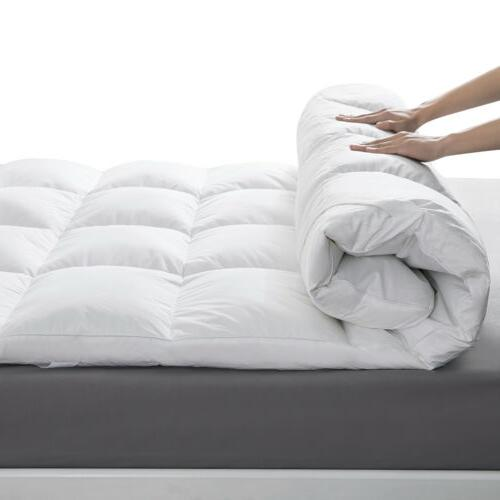 """2"""" Natural Goose Feather Bed Topper Pillow Top Cover"""