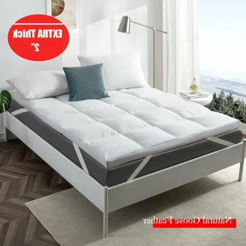 2 natural white goose feather bed mattress