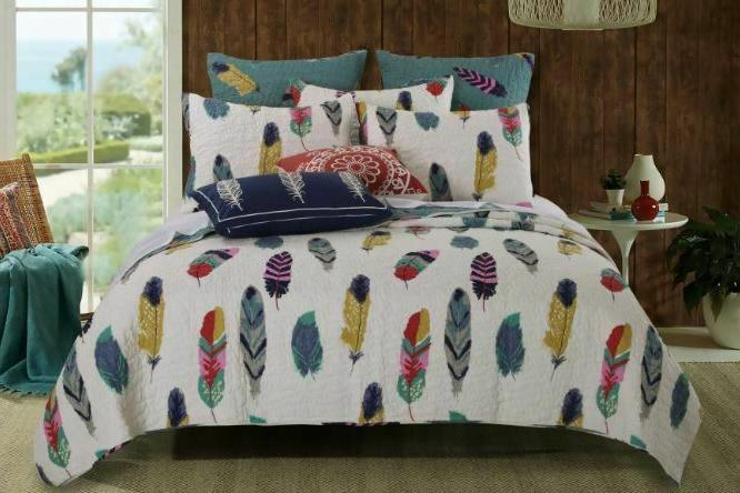 3 pc reversible cotton poly oversized quilt