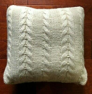 annandale cable knit feather decorator pillow cream