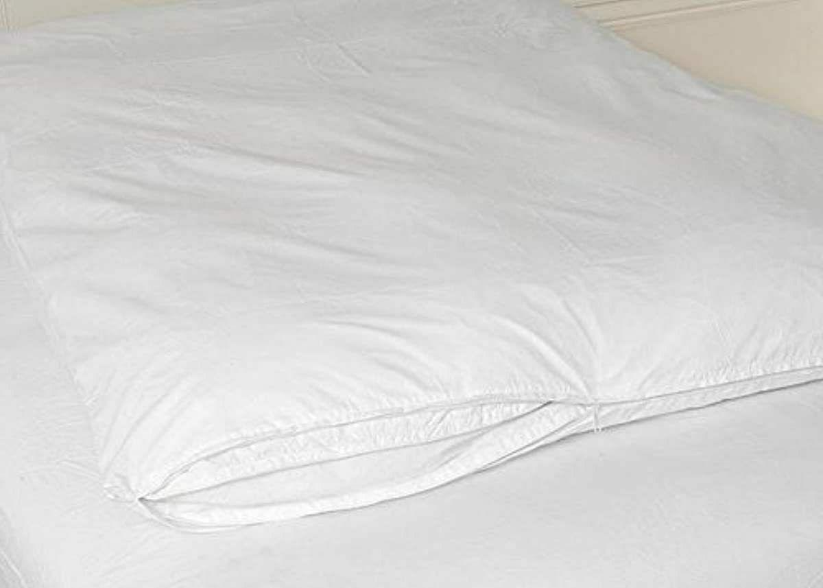 cotton zippered feather bed cover white queen