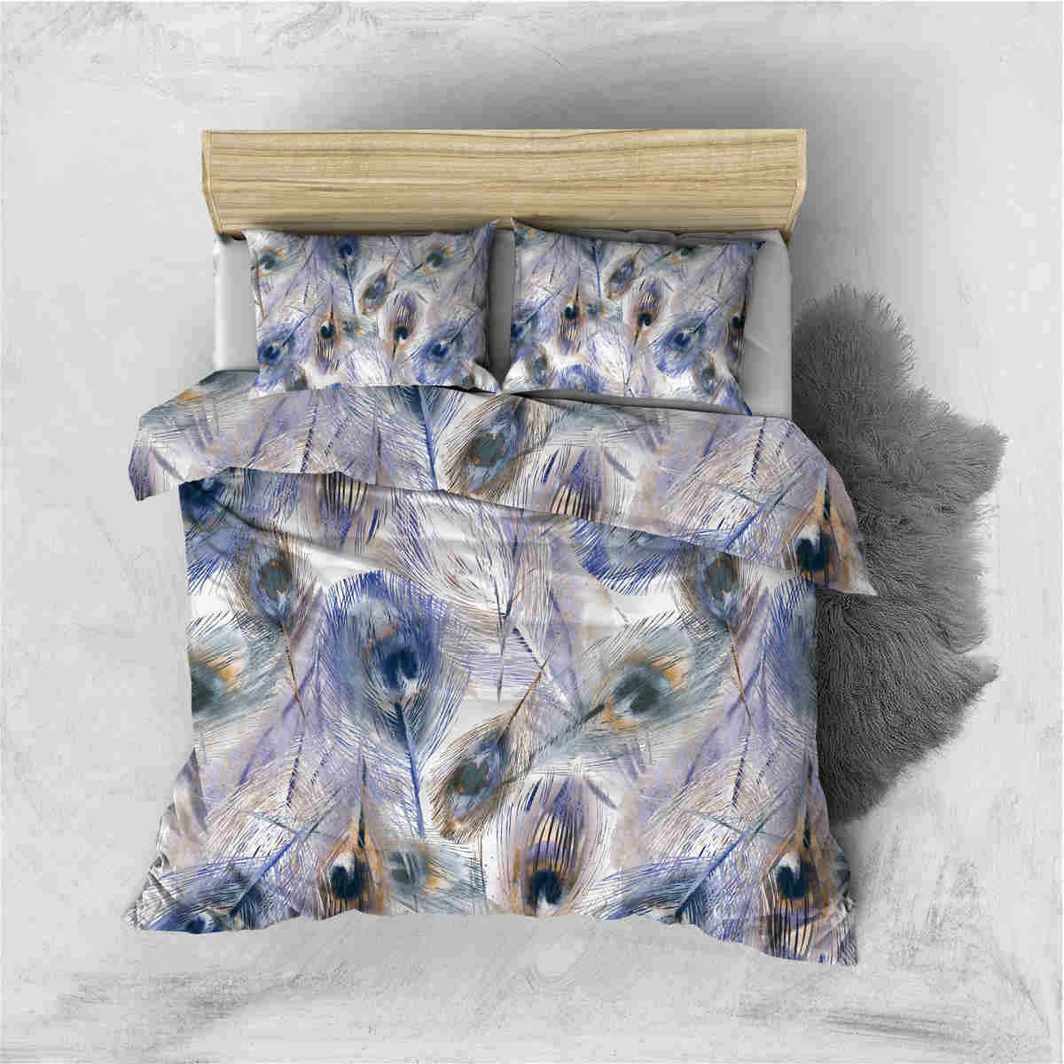 fashion feathers printing bedding set duvet cover