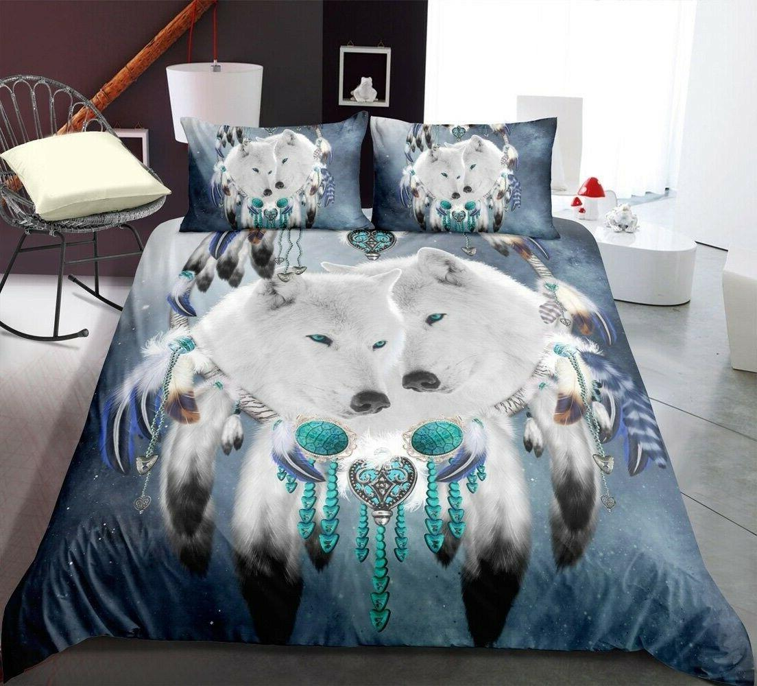 Feather White Wolf Printing Bedding Set Duvet Cover with Pil