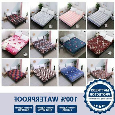 Floral Printed Waterproof Mattress Cover Fitted Sheet Pad Tw