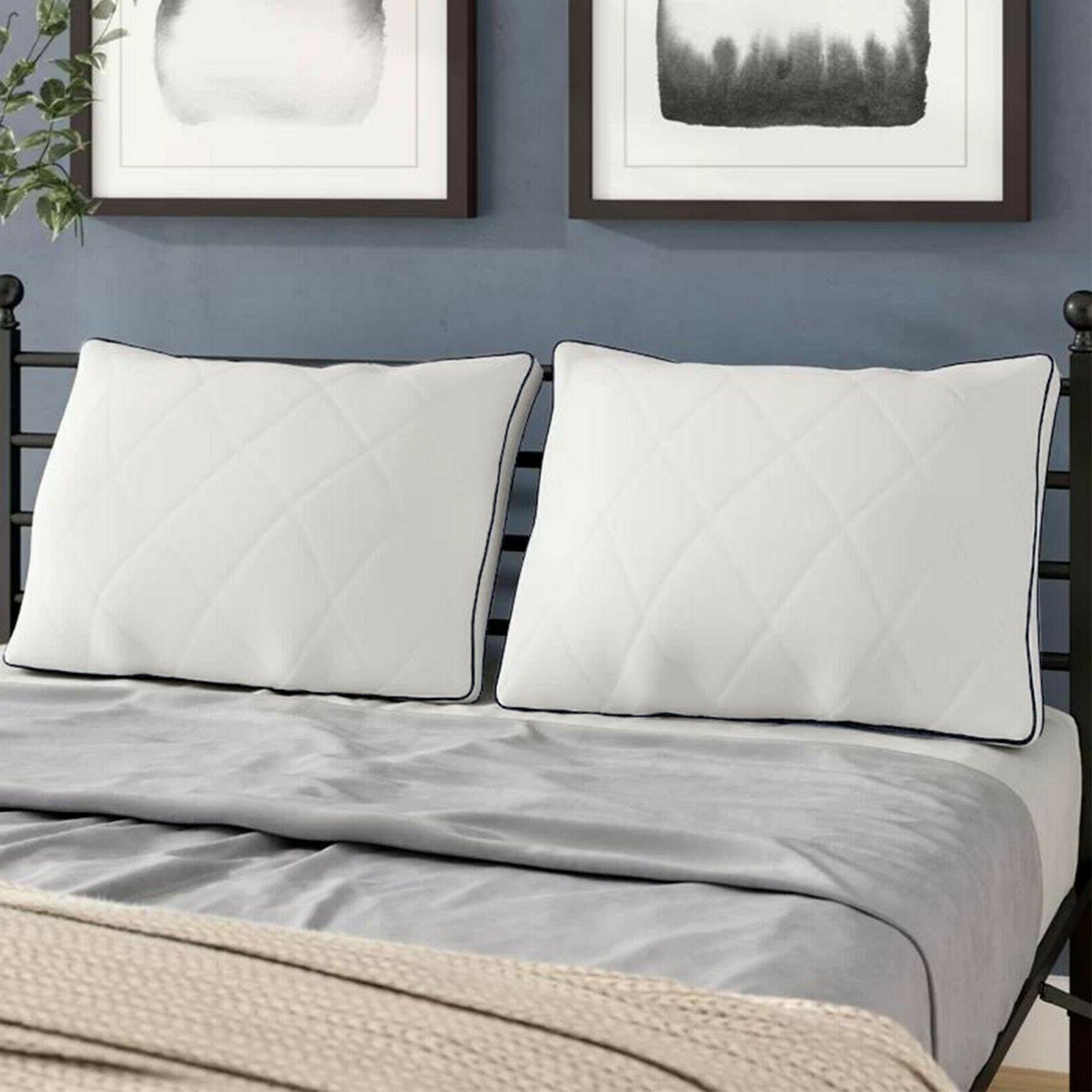 Grey Gusseted Set 2 Luxury Pillows King Size