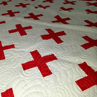Red White Red Cross Design FINISHED QUILT -