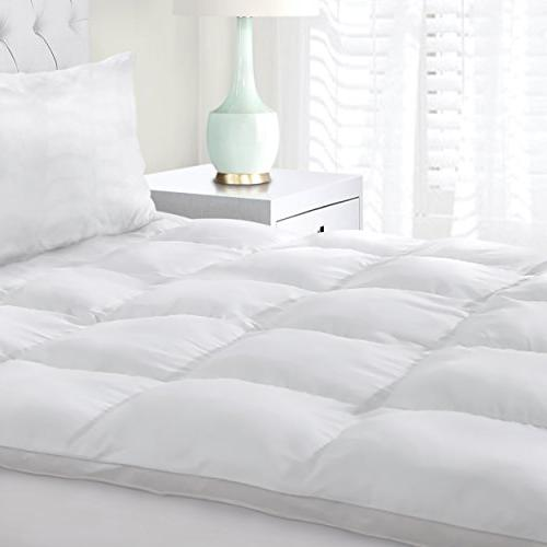 Superior Mattress Topper, Hypoallergenic White Featherbed - Plush, Thick