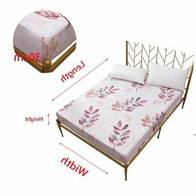 """Waterproof Floral Mattress Protector Bed Pad Fitted 11.8"""" Deep"""