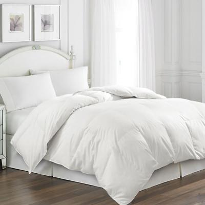 white goose feather comforter and quilted pillow