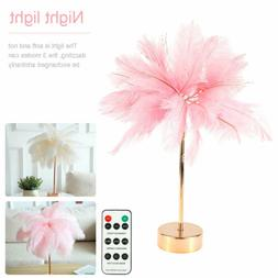 Modern Feather Light Table Desk Lamp Home Bedroom Night Lamp