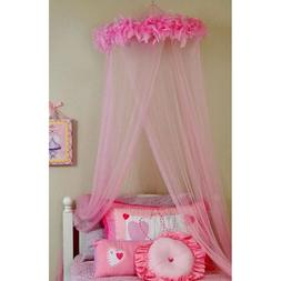 Mosquito Net Canopy Hot Pink Faux Feathers 100% Polyester In