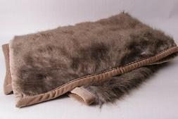 New Pottery Barn Feather Faux Fur Throw blanket 50x60 brown