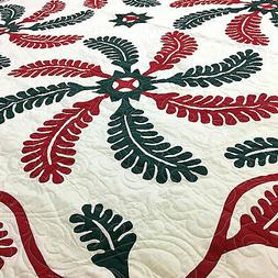 Nice Hand Applique Princess Feather * Finished Quilt wih fan