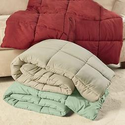 """Oversize Down Feather-Free Throw Blanket - 55"""" x 70"""" Bed Cov"""