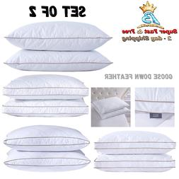 Pack Of 2 Natural Goose Down Feather Pillows Standard Queen