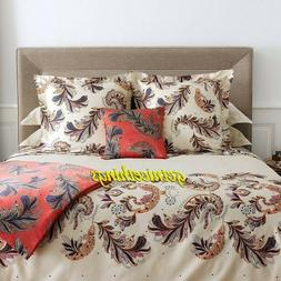 Yves Delorme Parure 4PC Ivory King Sheet Set Paisley Feather