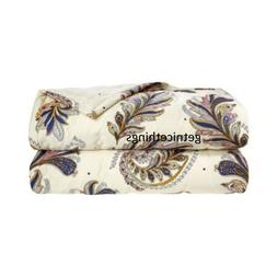 Yves Delorme Parure Queen Quilted Coverlet Paisley Feathers