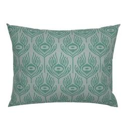 Peacock Aqua Feather Pillow Sham by Roostery