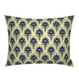Peacock Feather Bird Deco 20S Vintage Animals Pillow Sham by
