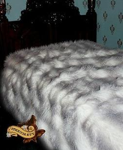 FUR ACCENTS Plush Gray Feather Fur Bedspread Twin Size