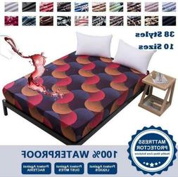 Printed 100% Waterproof Bed Fitted Sheet Pad Mattress Cover