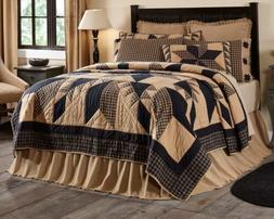 **NEW** 5PC QUEEN DAKOTA STAR Primitive Quilted Bedding Quil