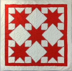 Red & White Feathered Edge Star- Bold Graphic look FINISHED