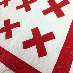Red & White Red Cross Design FINISHED QUILT - Intricate feat
