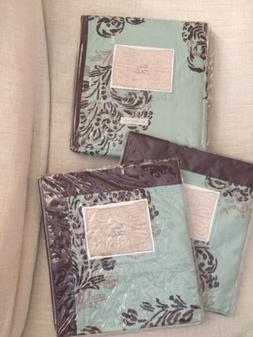 Soft Aqua Brown Feather Scroll ANTHROPOLOGIE Queen Bed Skirt