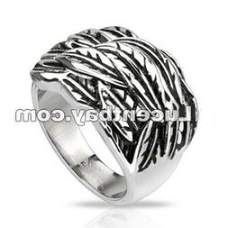 Spikes Mixed steel ring with feather bed