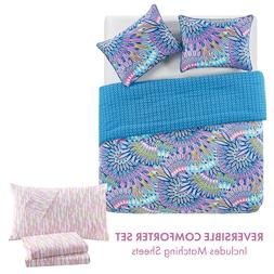 Twin or Full Feather Reversible Bed in a Bag Comforter and S